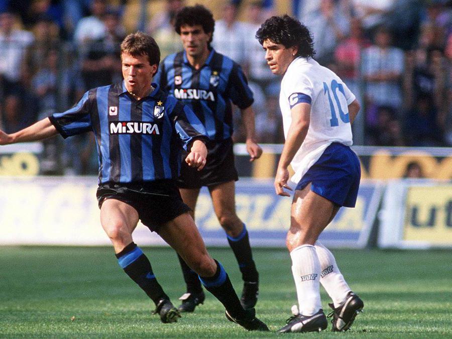 Napoli-Inter -1989. Lothar Matthaus e   Diego Armando Maradona (Ipp)