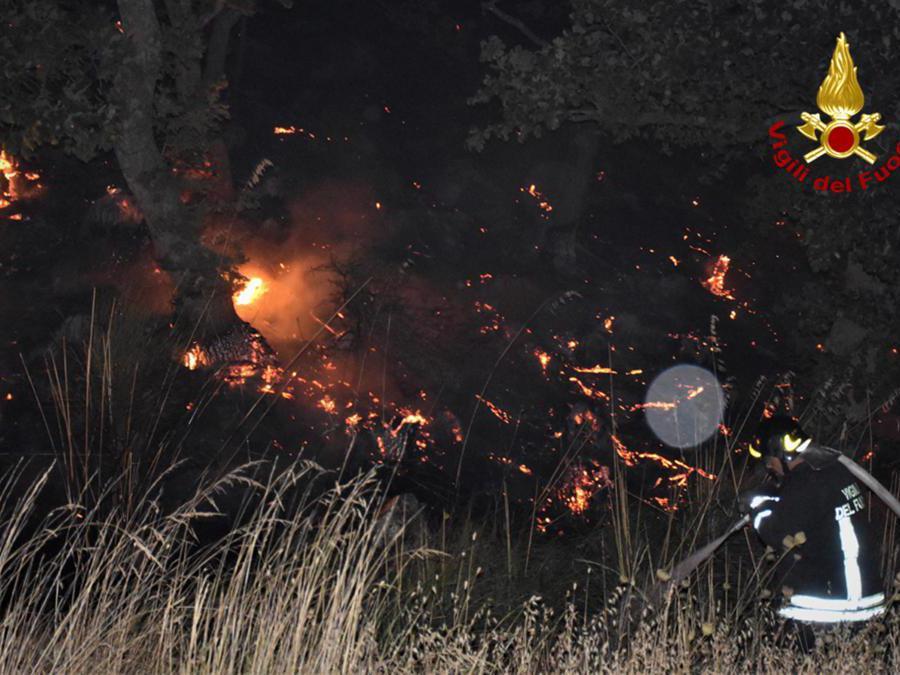 I vigili del fuoco intervengono per spegnere gli incendi divampati tra Piana degli Albanesi, Strasatto Altofonte e San Giuseppe Jato. (Epa / Vigili del Fuoco)