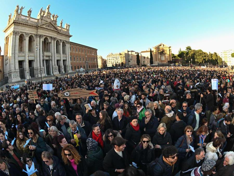 Roma, piazza San Giovanni (Afp)