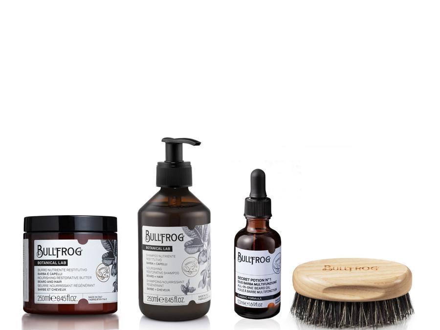 Bullfrog Botanical Lab, burro nutriente e shampoo nutriente per barba e capelli, più Secret Potion N°1, un olio da barba multifunzione