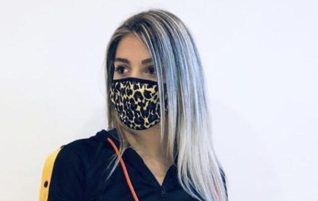La mascherina leopardata di Elettra Lamborghini