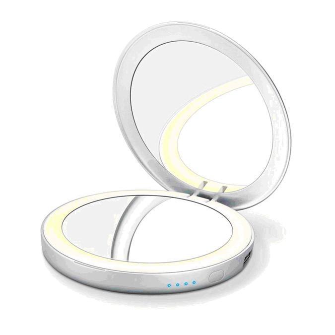 Beurer Specchio cosmetico illuminato BS39, uno specchio tascabile con un luce a LED, intensa e uniforme con power bank integrato, da una parte ingrandimento 3x