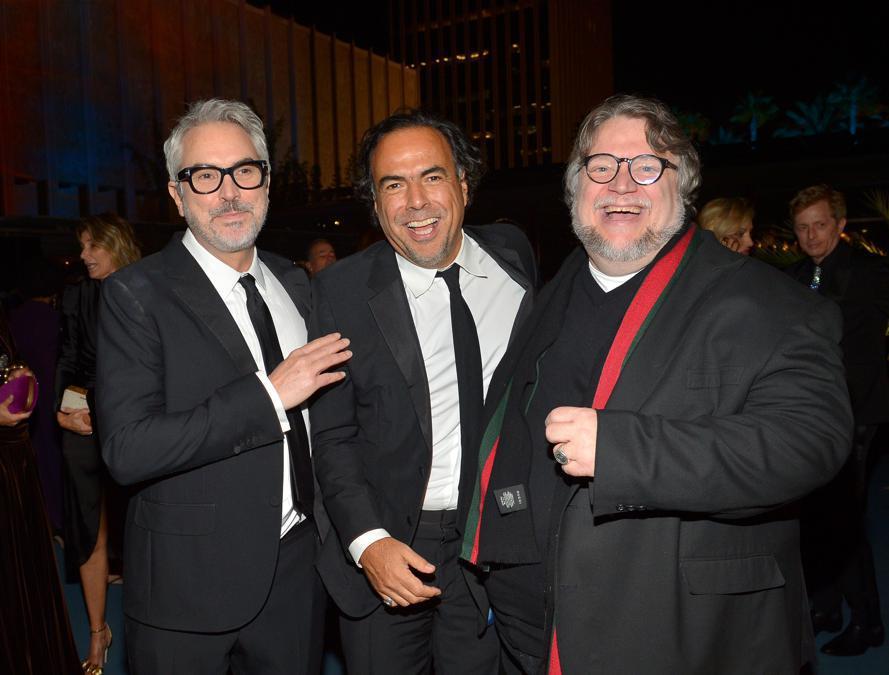 Da sinistra Alfonso Cuarón, Alejandro González Iñárritu e Guillermo del Toro (Photo by Donato Sardella/Getty Images for LACMA)