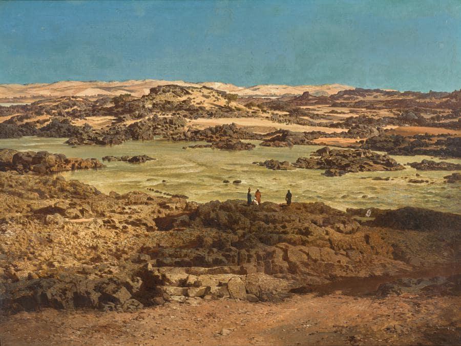 Carl Hasch, Le cataratte del Nilo ad Assuan, olio su tela