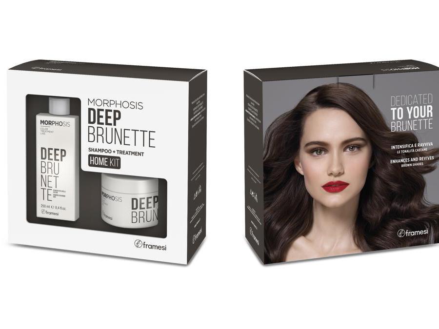 Framesi Morphosis Deep Brunette, in grado di mantenere il marrone e contemporaneamente lucidare i capelli. Il trattamento si può fare nel salone e poi per mantenere i benefici continuarlo a casa.