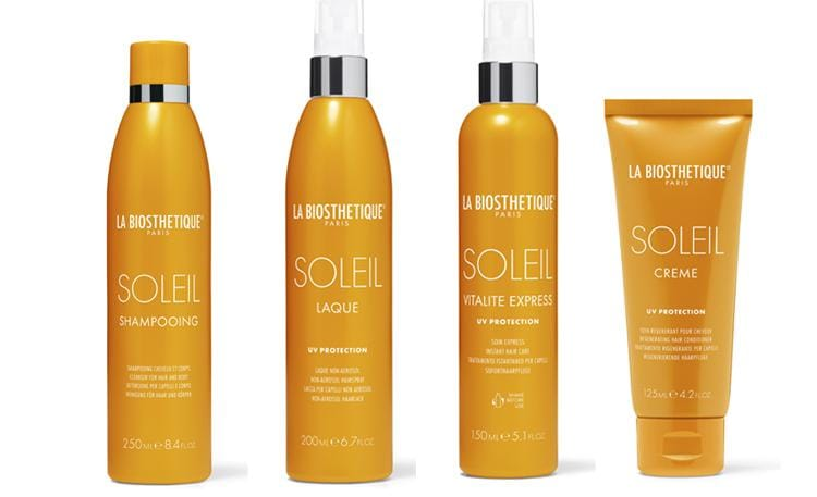 La Biosthétique Soleil, una linea con 4 prodotti: shampoo, lacca, uno spray resistente all'acqua e una crema nutriente da usare come trattamento doposole.