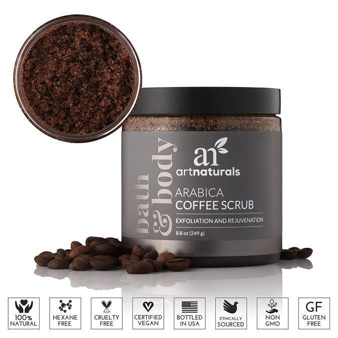 Art Naturals Arabica Coffee Scrub, la formula con i Sali del Mar Morto e caffè di Kona permette di ridurre la buccia d'arancia della cellulite e le smagliature