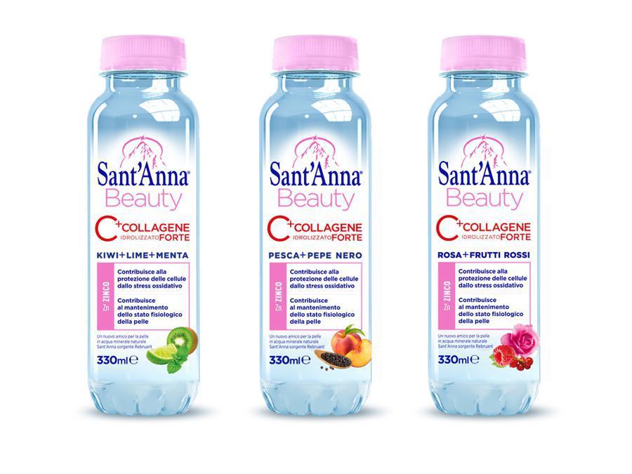 Sant'Anna Beauty Acque al collagene idrolizzato addizionate con zinco, prodotte in tre gusti diversi: rosa più frutti rossi, kiwi più lime e menta, pesca più pepe nero (nelle parafarmacie e Gdo)