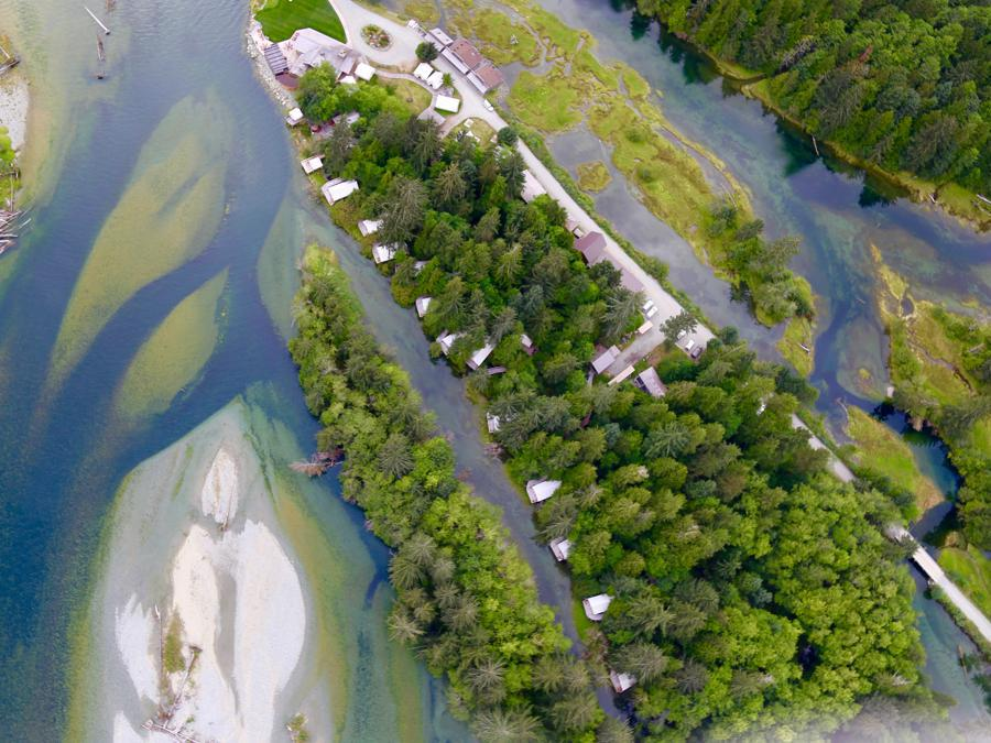 Clayoquot Wilderness Resort Aerial Riverfront Tents