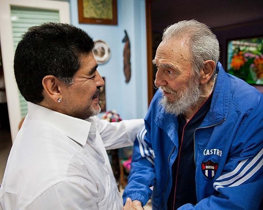 15 April 15 2013, Maradona e  Fidel Castro. (Photo by - / www.cubadebate.cu / AFP)