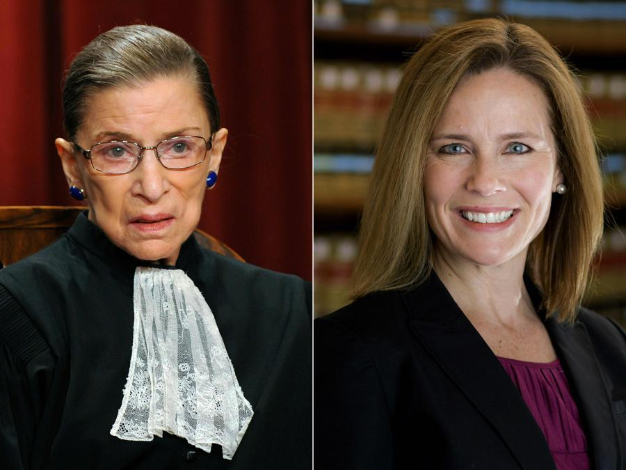 Ruth Bader Ginsburg,  Amy Coney Barrett (Photos by Tim SLOAN and Julian VELASCO / various sources / AFP)