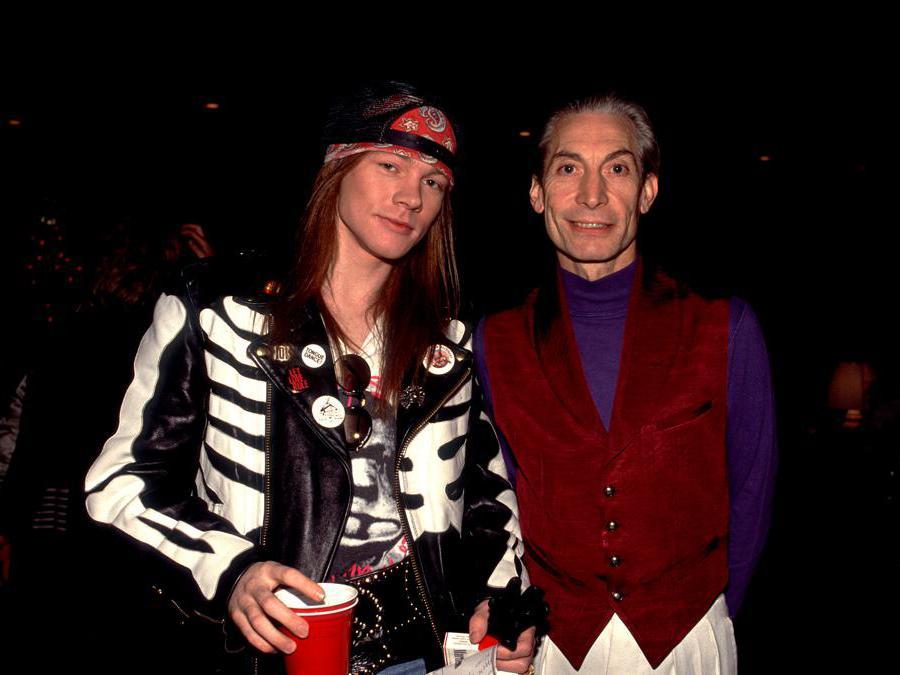 Il Backstage del concerto dei   Rolling Stones  «Steel Wheels' tour», B Charlie Watts e Axl Rose dei Gun's and Roses nel  1989. (Getty Images/Paul Natkin)