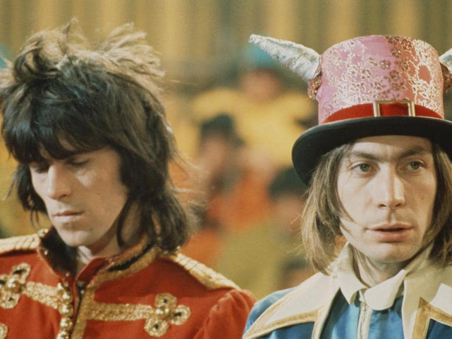 Keith Richards e Charlie Watts su set del «Rolling Stones Rock and Roll Circus» a  Wembley nel 1968 . (Getty Images/Colleen Hayward)