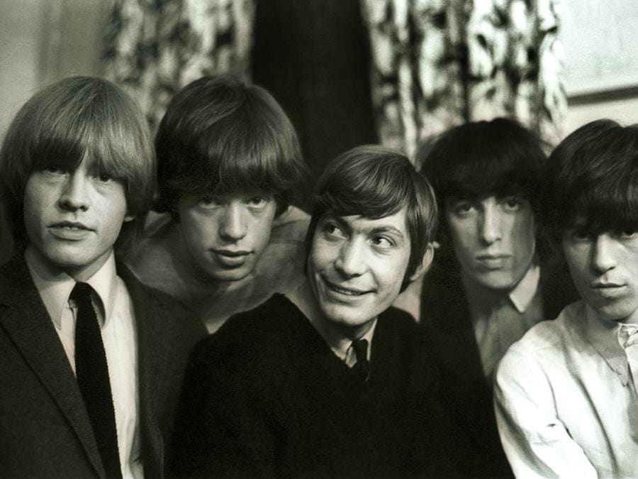 I Rolling Stones nel 1969: Brian Jones , Mick Jagger, Charlie Watts , Bill Wyman e Keith Richards (Ipp)