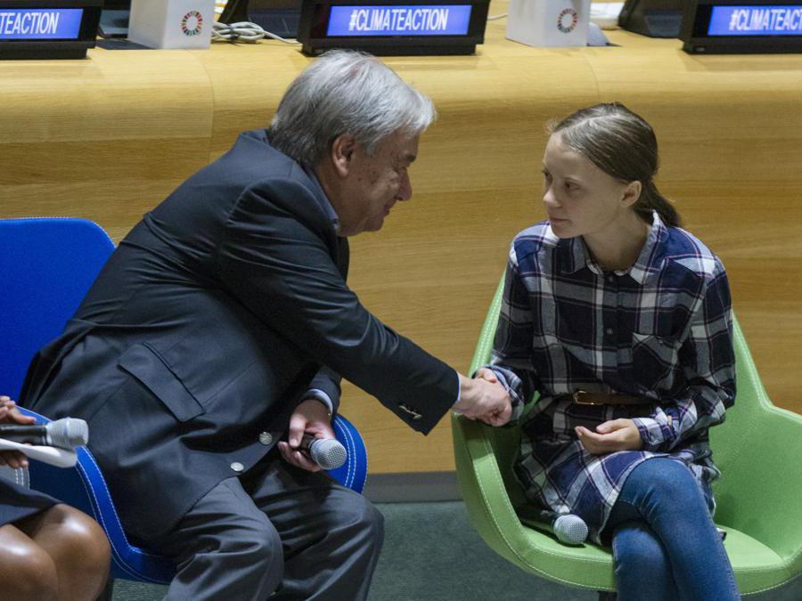New York City.  Youth Climate Summit. Greta Thunberg con  António Guterres (Ansa/Ap)
