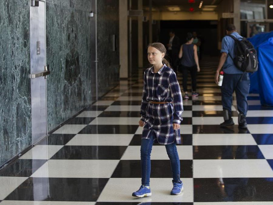 New York City.  Youth Climate Summit. Greta Thunberg (Ansa/Ap)
