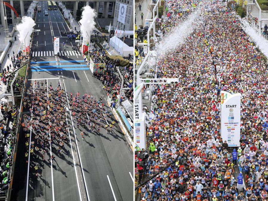 Tokyo. La Maratona 2020 a sinistra, 2019 a destra(Reuters)