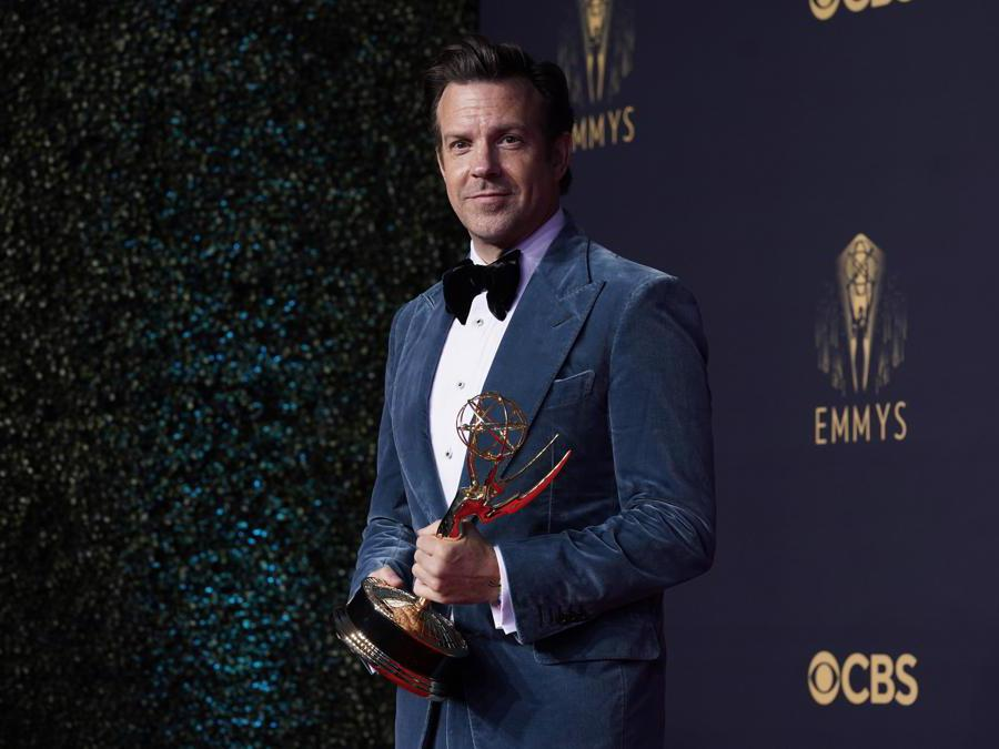 Jason Sudeikis, vincitore del premio come miglior attore protagonista  per «Ted Lasso»  (AP Photo/Chris Pizzello)