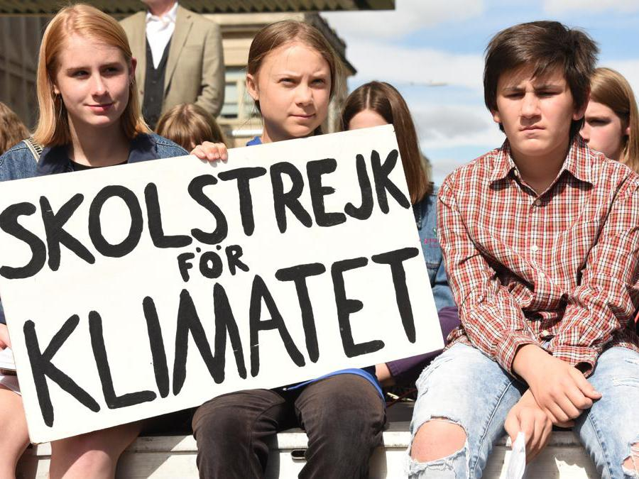 Greta Thunberg mentre partecipa a un raduno sul cambiament climatico in  Iowa City (Usa) (Afp/ Sherry Pardee)