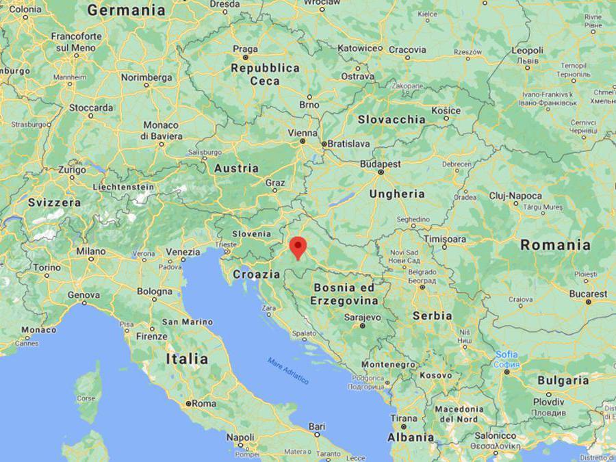 La zona da dove è partita la scossa di terremoto in Croazia, 29 dicembre 2020. ANSA/INGV