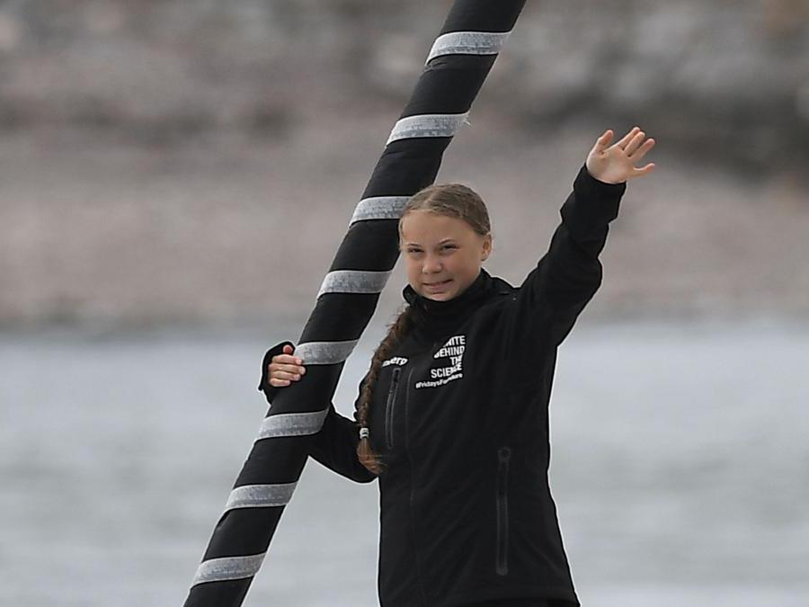 Greta Thunberg a bordo della barca a vela Malizia II. (Photo by Ben STANSALL / AFP)