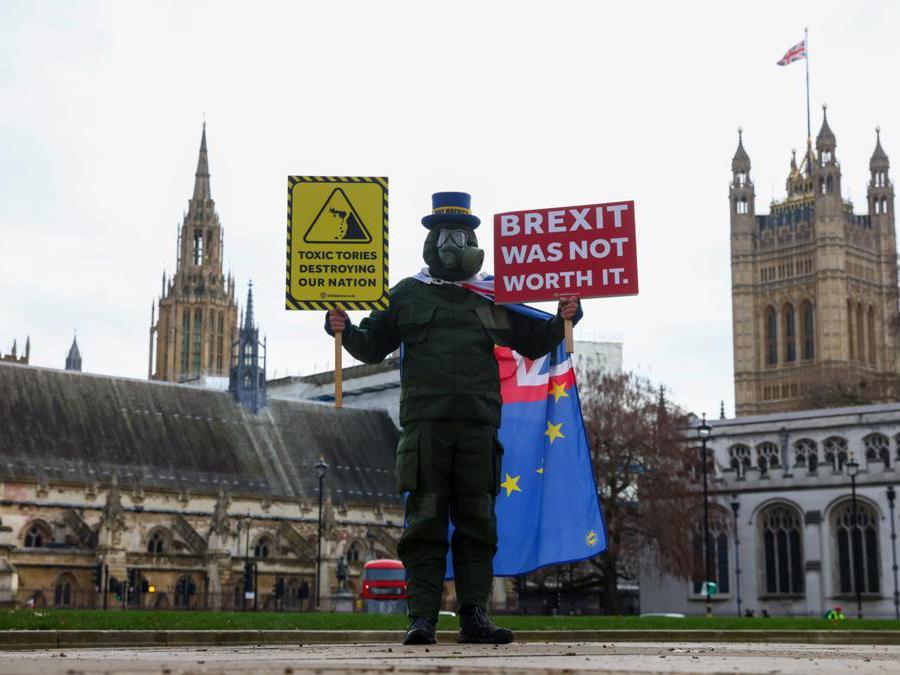 Steve Bray, manifestante anti-Brexit davanti al Parlamento  (Simon Dawson/Bloomberg)