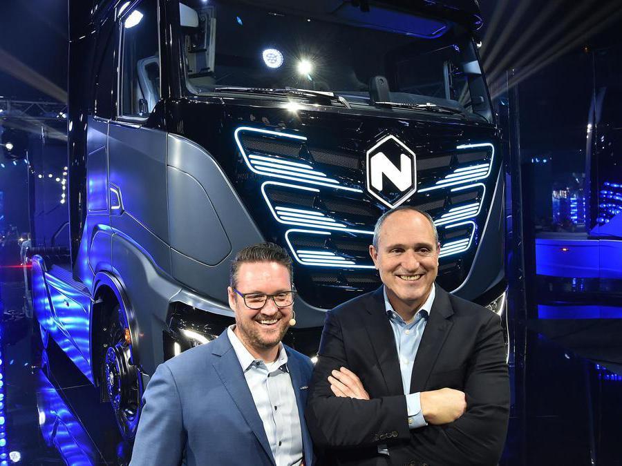Trevor Milton CEO NIkola e Mark Russell presidente Nikola Motors durante la serata di presentazione dei nuovi veicoli presso le OGR, Torino, 2 Dicembre 2019 ANSA/ ALESSANDRO DI MARCO