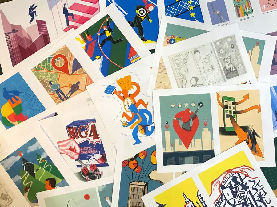 Per illustrare la serie #OrientaProfessioni il Sole 24 Ore ha lanciato un contest con i corsisti di Mimaster Illustrazione 2019. Tra le 17 proposte, realizzate durante un workshop curato da Adriano Attus e dall'illustratore Joey Guidone, sono stati selezionati dalla redazione i cinque studenti che si alterneranno nella realizzazione delle tavole