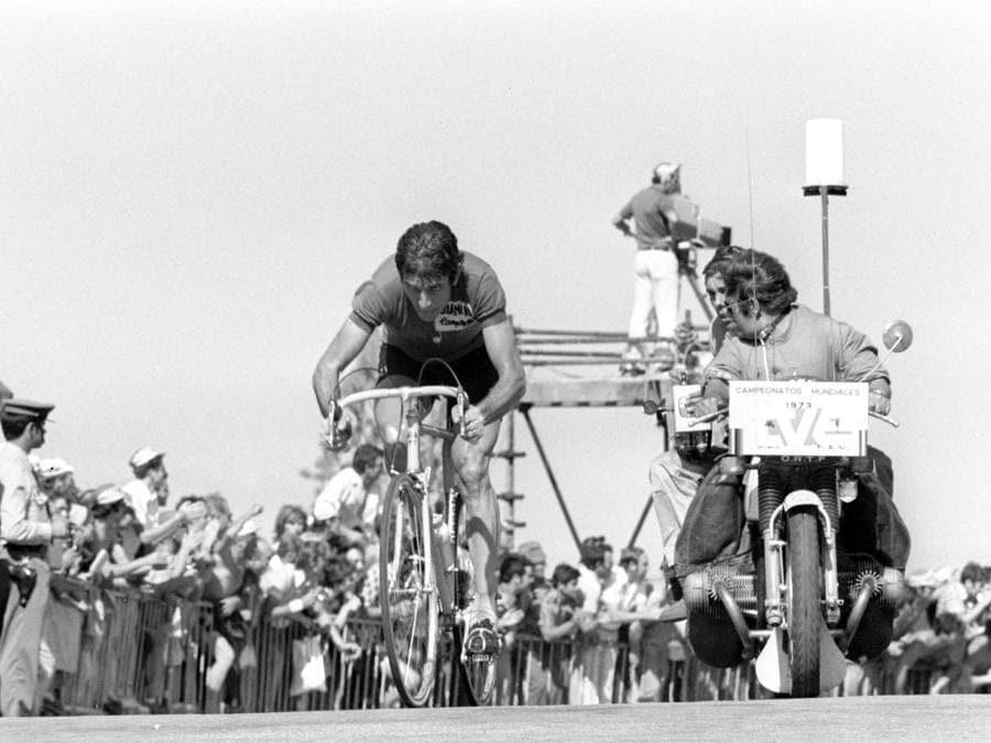 1973, Montjuïc, campionati mondiali su strada. Felice Gimondi (Ipp)