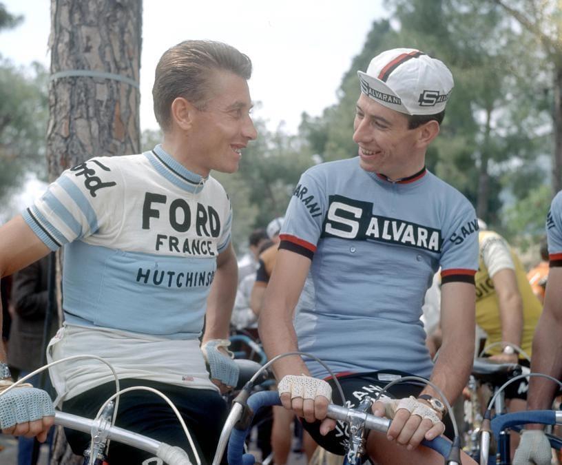 1966, Giro d'Italia. Jacques Anquetil e Felice Gimondi (Ipp)
