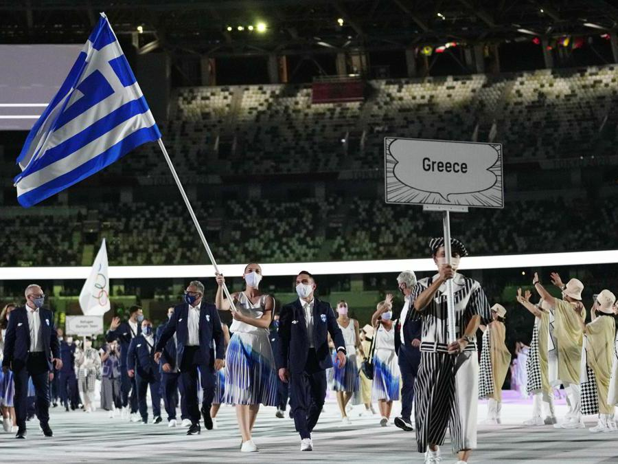 Anna Korakaki e Eleftherios Petrounias della delegazione greca  (Ap Photo/Petr David Josek)