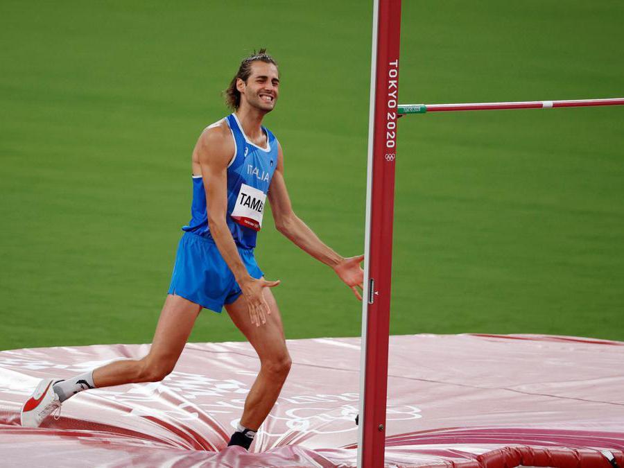 Finale di salto in alto maschile: l'italiano Gianmarco Tamberi (Reuters/Phil Noble)