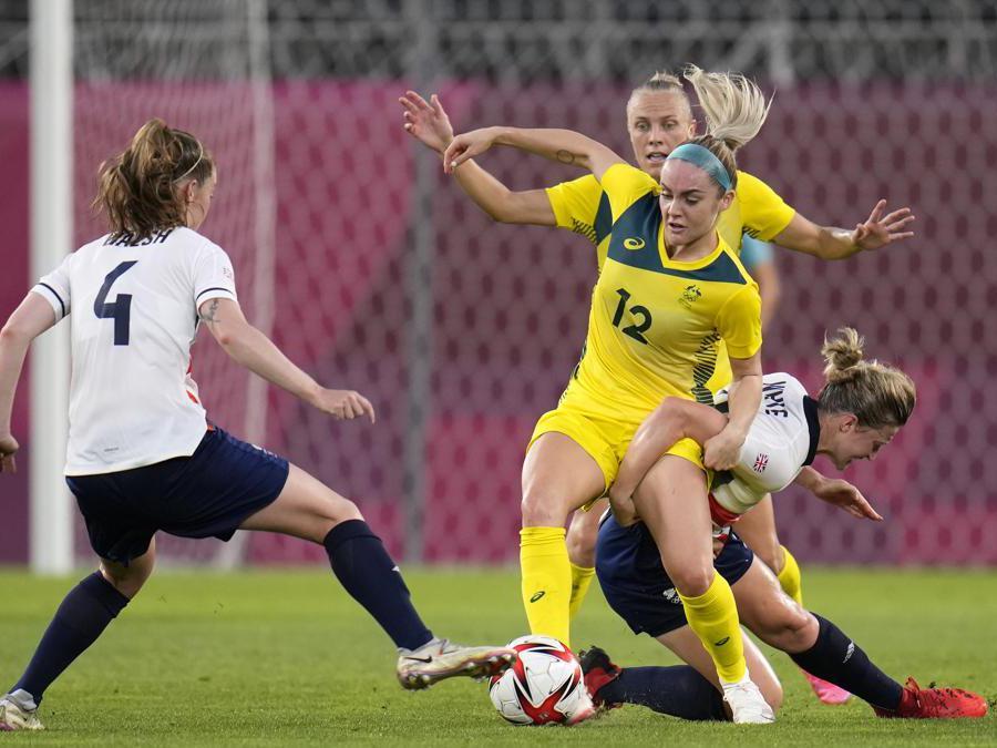 Quarti di finale calcio femminile Australia contro Inghilterra. (AP Photo/Fernando Vergara)