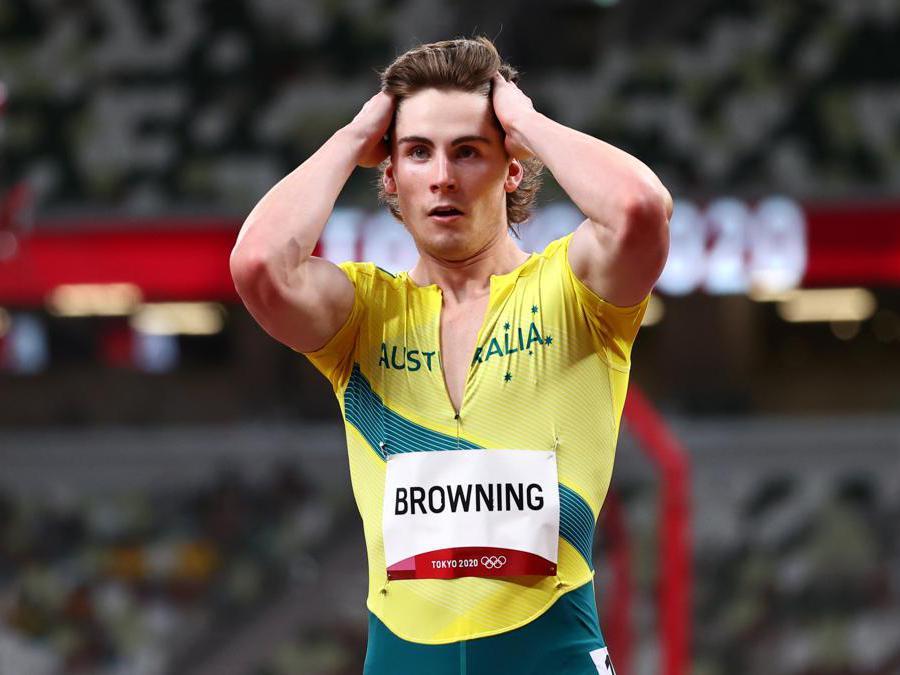 L'australiano Rohan Browing dopo aver vinto 100m maschili (Reuters/Lucy Nicholson)