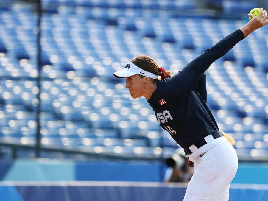 Softball femminile, Stati Uniti contro Messico. Nella foto la statunitense Monica Abbott (REUTERS/Jorge Silva)