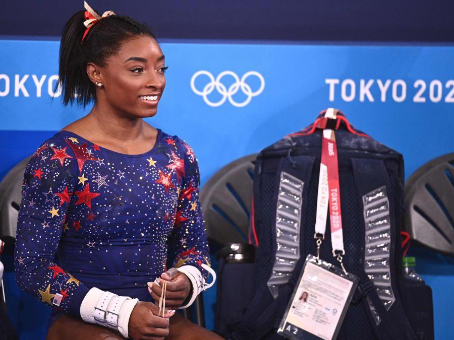 Ginnastica artistica, la statunitense Simone Biles durante le qualificazioni (Photo by Martin BUREAU / AFP)