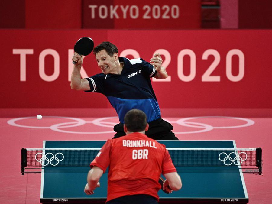 Ping pong, Austria-Gran Bretagna (Photo by Anne-Christine POUJOULAT / AFP)