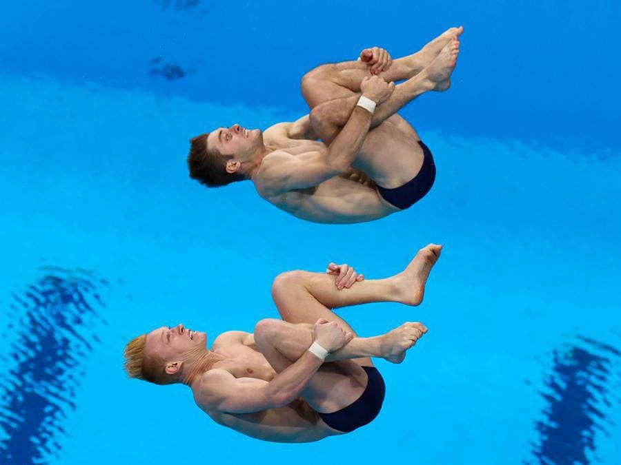 Trampolino 3 metri uomini sincro: gli americani  Andrew Capobianco e Michael Hixon (Reuters/Marko Djurica)