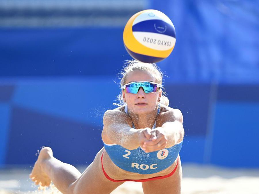 La russa  Svetlana Kholominai durante la partita preliminare di beach volley femminile Russia e Cuba  (Afp/Yuri Cortez)