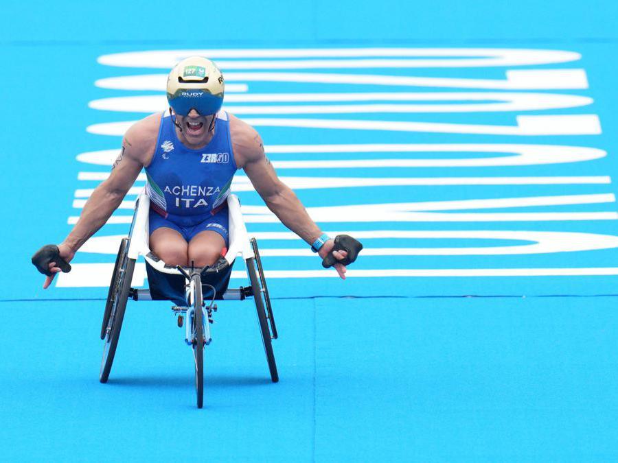 Giovanni Achenza vince il bronzo nella categoria ptwc a 50 anni . ANSA/Luca Pagliaricci / Bizzi Team