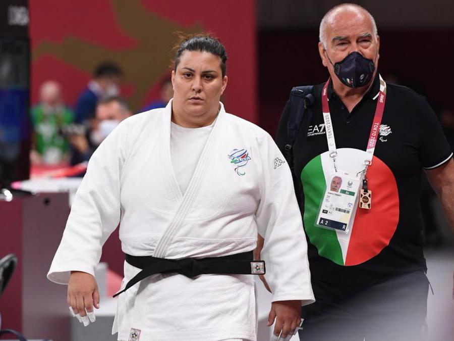 Carolina Costa ha ottenuto la medaglia di bronzo nella categoria +70 kg nello Judo . ANSA/Bizzi/CIP