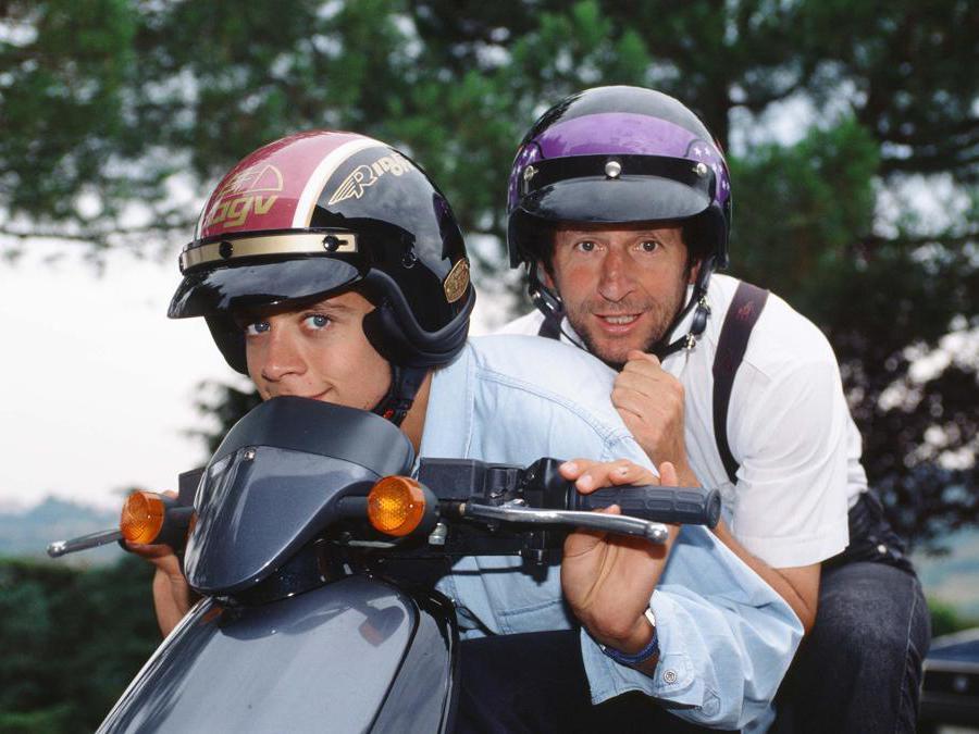 Tavullia - Pesaro - Agosto 1996 nella foto il pilota di motociclismo Valentino Rossi con il padre Graziano  (Ipp/Paolo Bona)