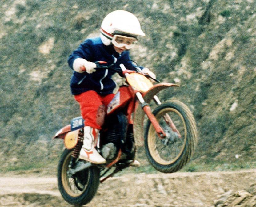 Valentino Rossi in sella ad una mini moto da cross ( motocross ) all'eta' di 5 (Ipp/Paolo Bona)