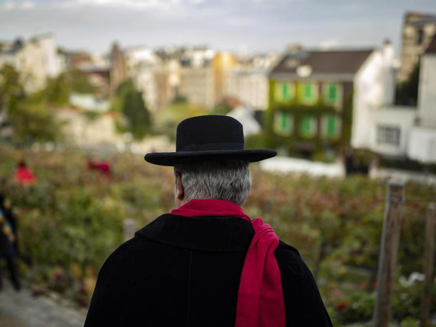 Un membro della Repubblica di Montmartre partecipa alla vendemmia nel Clos de Montmartre. Si tratta di un piccolo vigneto che produce 500 litri di vino all'anno chiuso al pubblico dal 1933 per preservare questo angolo di natura nella citttà e d evitare nuove costruzioni. (EPA/IAN LANGSDON)