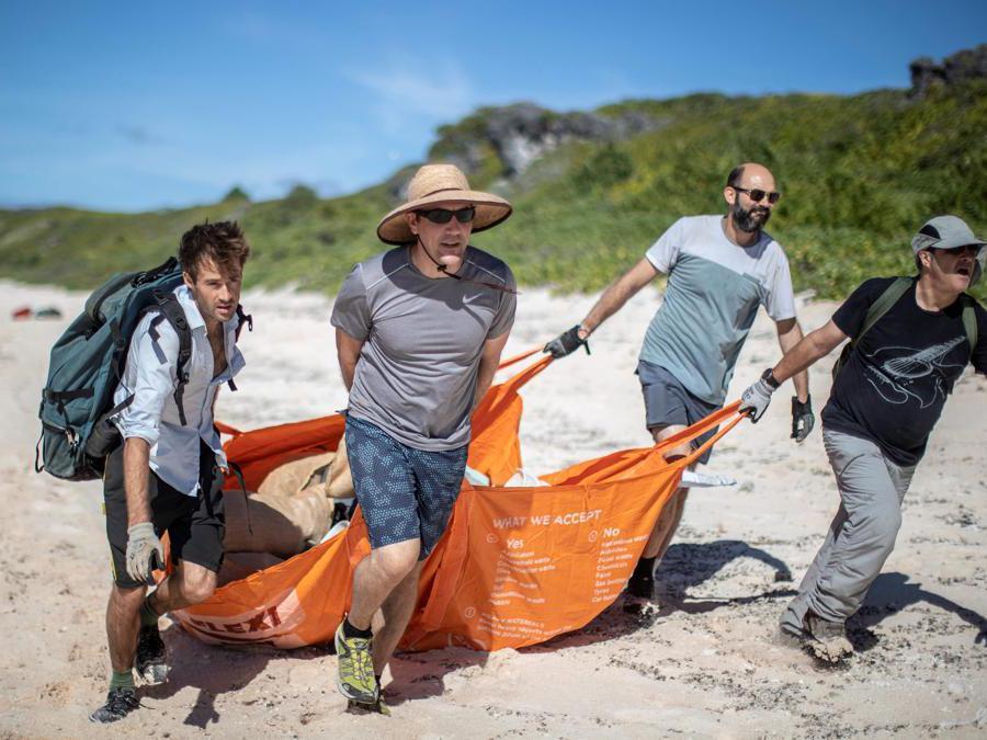 I membri del team di pulizia della spiaggia Johnny Briggs (sinistra), Brett Howell (2 ° da sinistra), James Beard (2 ° da destra) e Robin Shackell (destra) raccolgonoi rifiuti da una spiaggia dell'isola di Henderson. (Photo by Iain McGregor / STUFF / AFP)